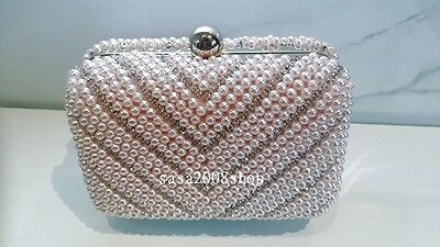 Pink~Handmade Pearl & Crystal~Wedding Bridal Pearl Evening Bag☆Free shipping☆