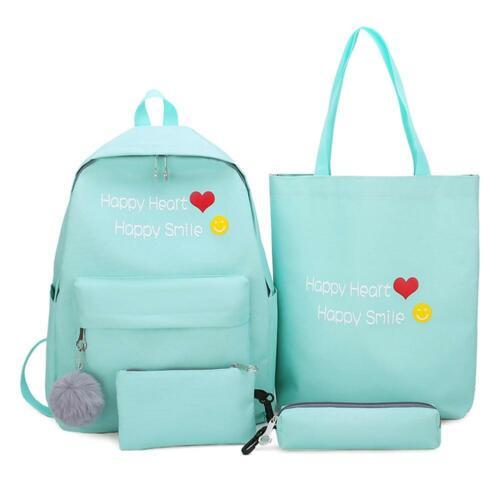 4pcs//set Letter Print Canvas Women Backpack Travel Schoolbag Knapsack Tote N#S7