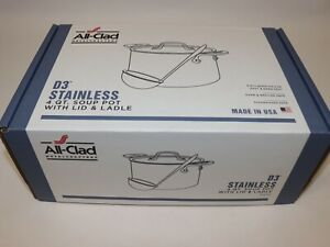 NIB-255-ALL-CLAD-D3-Tri-Ply-Stainless-Steel-4-QUART-Soup-Pot-with-Lid-amp-Ladle