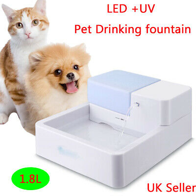 New LED UV Automatic Pet Water Drinking Filter Fountain Bowl Dogs Cats Drinker