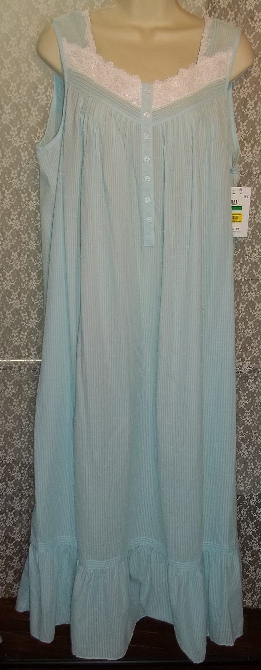 XL EILEEN WEST Woven Cotton Poly Long Nightgown Sleeveless Turquoise Swiss Dot