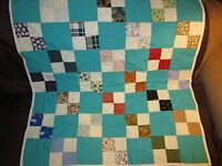 Vintage Patchwork Bow Tie Lap Quilt~White Border Solid Teal Turquoise Backing