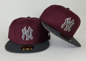 7120b7f529f New Era Maroon   Dark Grey New York Yankee 59Fifty Fitted hat