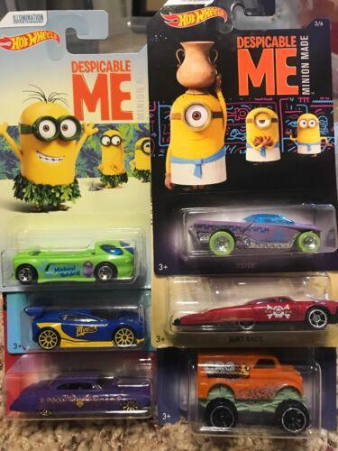 Set of 6 2017 Hot Wheels Illuminations Despicable Me Minion 3 Movie
