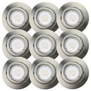 9er-Set-LED-6-5W-Einbaustrahler-schwenkbar-Einbauleuchte-IP23-Warmweiss-Nickel