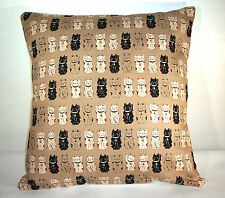 "GORGEOUS NEW CHINESE LUCKY CATS LINEN  CUSHION COVER  16""X16"""