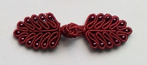 6 pairs burgundy beaded Chinese Frogs Closure buttons bohemian fashions sewing