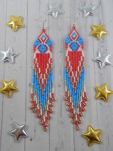 Handmade-beaded-earrings-Fringe-earrings-Seed-bead-earrings-Long-earrings