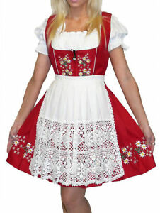 DIRNDL German Dress Oktoberfest EMBROIDERY Red SHORT Waitress Swing Garden Dress