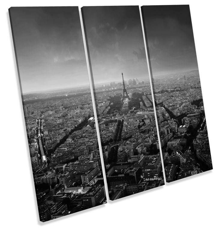 Paris Skyline City Sunset B&W CANVAS WALL ART TREBLE Square Print Picture