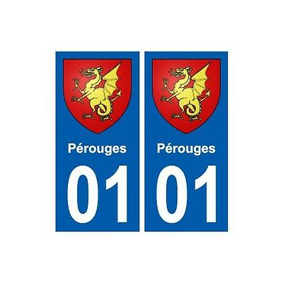 01 Pérouges Ville Autocollant Plaque Sticker Arrondis