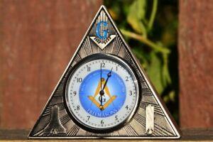 Massonico Quadrato e Compasso Orologio da Tavolo - Ufficio - Fermacarte -