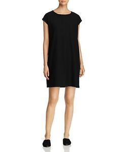 1c0ff7f55265 Image is loading NEW-EILEEN-FISHER-BLACK-WASHABLE-STRETCH-CREPE-BATEAU-