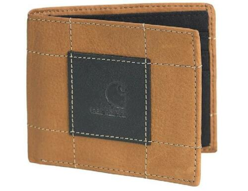CARHARTT Bifold PASSCASE ID WALLET Full Grain BROWN Leather BLACK Logo Patch NEW