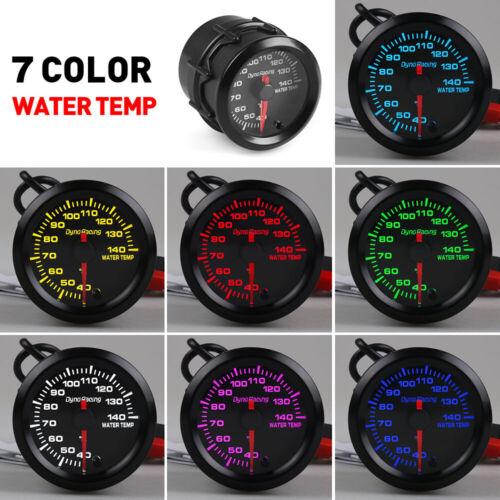 2/'/' 52mm Water Temp Gauge Stepper Motor Pointer 7 Color LED Temperature Meter