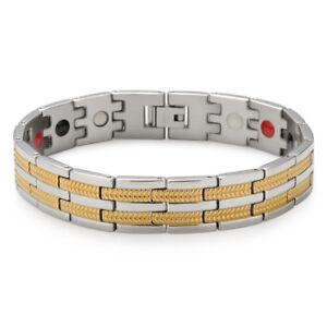 4-IN-1-Magnetische-Herren-Energetix-Armband-Edelstahl-Armkette-Silber-Gold-8-46-034