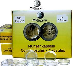 100 Münzkapseln 26mm Für 2 Euro Gedenkmünzen Kapseln Für Münzen Mc