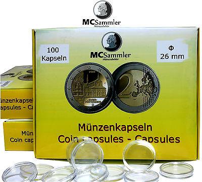 MC Sammler 100 Stück Münzkapseln / Kapseln Caps Größe 26mm passend für 2 Euro