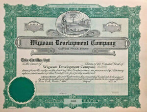 Wigwam-Development-Company-gt-Avon-Park-Florida-stock-certificate