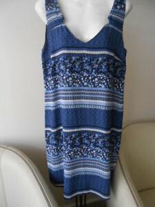 K-neuf-jolie-robe-DDP-imprime-bleu-T-L-40