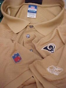 55f49cbe3 ST LOUIS RAMS Men Gold Short Sleeve Embroidered Logo Golf Polo Shirt ...