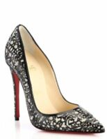 Christian Louboutin So Pretty 120 Patent Glitter Red Sole Silver Pump 38