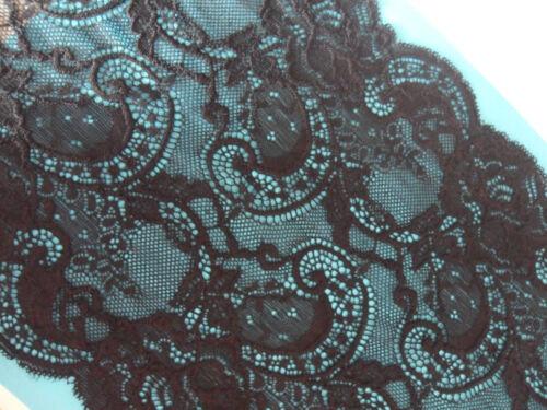 Spitze Schwarz elastisch 19,3cm breit Borte tolle angebot selten N 02