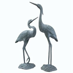 Garden Heron Pair Solid Brass Statues Outdoor Bird Sculpture