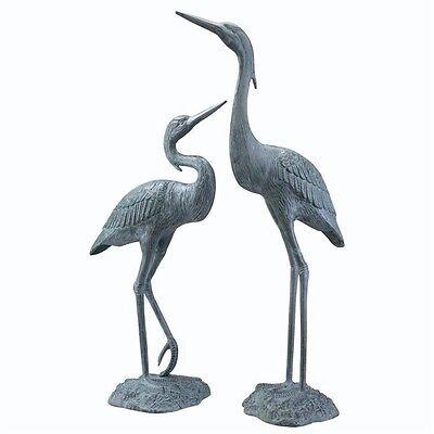 Brass Heron Pair Garden Sculptures, Outdoor Bird Statues
