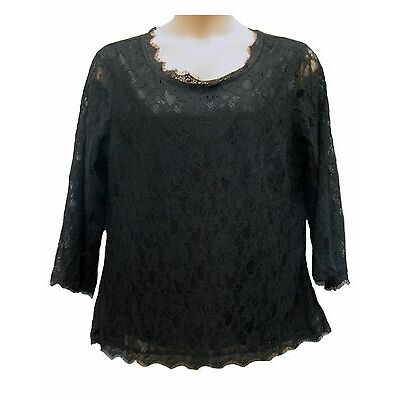 WOMENS New Ladies Laced Black Long Sleeved Scoop Neck Tunic Top SIZE 18