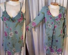 NEW Small Blue Purple Floral Nightgown Robe Set Gown S Lady Woman Morgan Taylor
