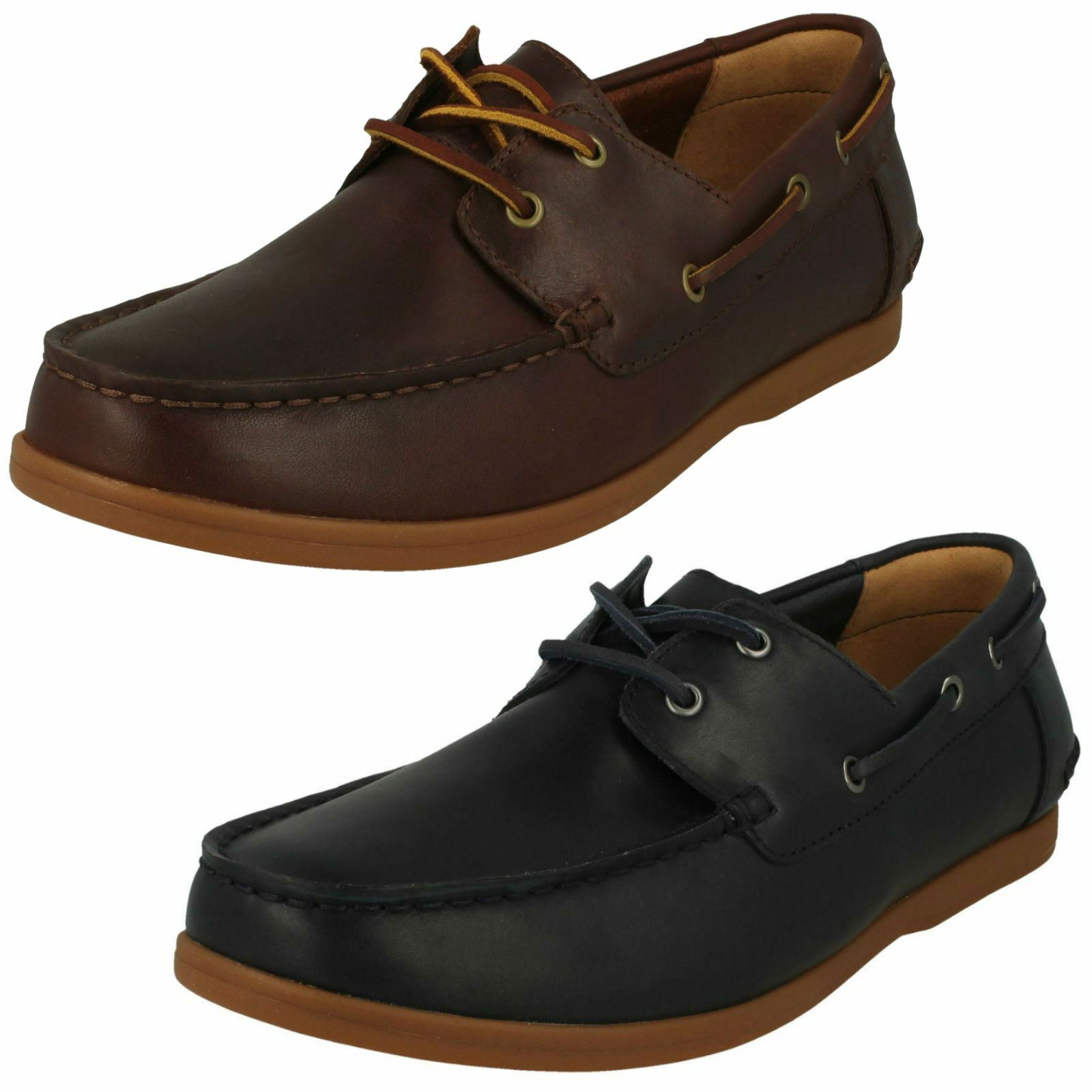 Mens Clarks Lace Up Leather Deck   Boat Style schuhe - Morven Sail   | Wirtschaft