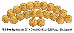 Lot-of-20-LINCOLN-BICENTENNIAL-2009-Pennies-UNC-Coins-24K-Gold-Plated-BIRTHPLACE