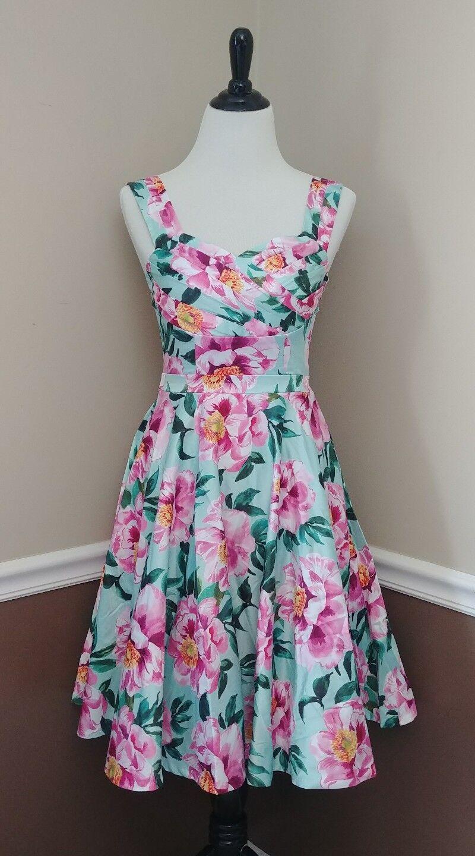 Mint Grün Rosa Floral Fit & Flare Dress S 50s Pinup Pockets Modcloth Elegance