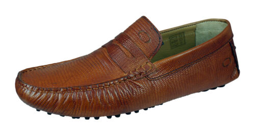Base London Morgan Mens Slip On Snake Leather Driving Loafers Moccasin Shoes Tan