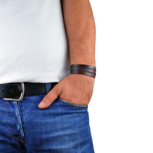 Messieurs les hommes bracelet en cuir véritable Cuir Marron Bracelet 3 fois à langer Bracelet Menq