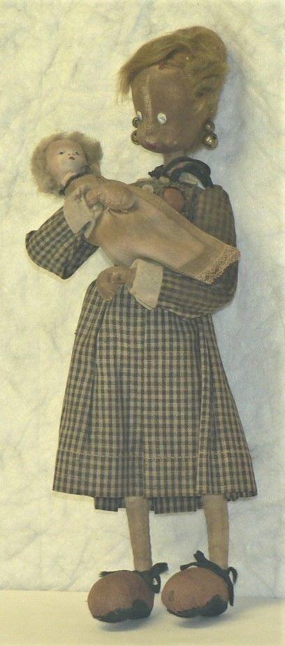 Antiguo Artesanal Lino Muñeca Con Bebé-debe ver