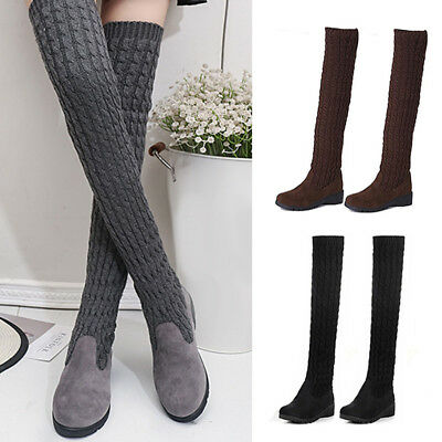 Women Cable Knit Extra Long Socks Boots