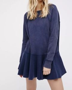 NEW-Free-People-Like-That-Pullover-Sweatshirt-Size-Small-Washed-Blue