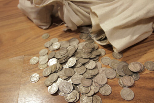 Survival Money 1916-1945 Mercury Dimes 90/% Silver Circulated Currency Lot of 50
