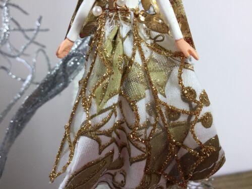 Gisela Graham Gold Holly Angel Christmas Tree Decoration Fairy Glitter Vintage