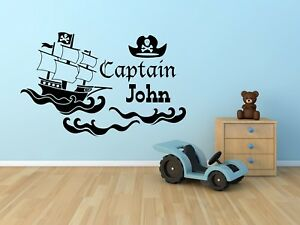 803e15f3e99ed Personalised Name Pirate Boat   Hat Wall Sticker For Boys Bedroom ...