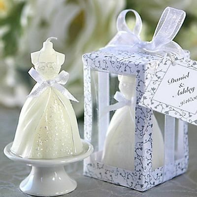 Exquisite White Boxed Wedding Bridal Bride Shape Candle Party Favors Decor Gift