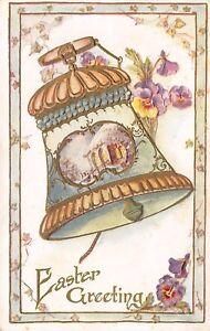 Easter-Teal-Peach-Ornate-Bell-Purple-Pansies-Gold-Leaf-Emboss-Ivy-Border-Emboss