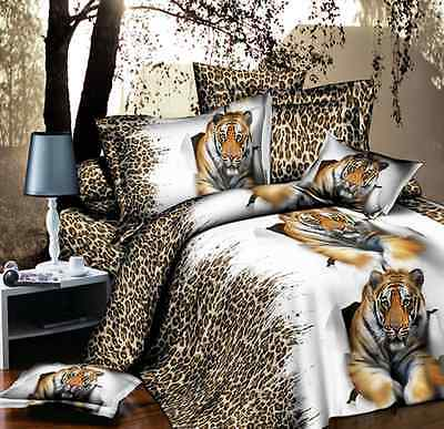 Tiger 3D Leopard Double Queen Size  Bed Set Quilt Duvet Cover Pillowcase O
