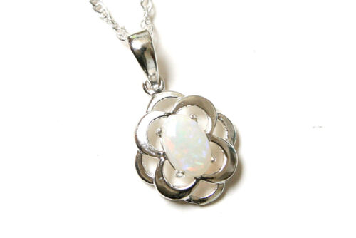 """Sterling Silver Opal Celtic pendant and 18/"""" chain Gift Boxed Made in UK"""