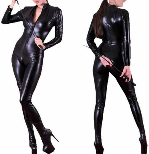 4 Leather Ladies in Way Body Black Zip Wetlook tuta Faux Sexy Catsuit Pvc vqZnaaR