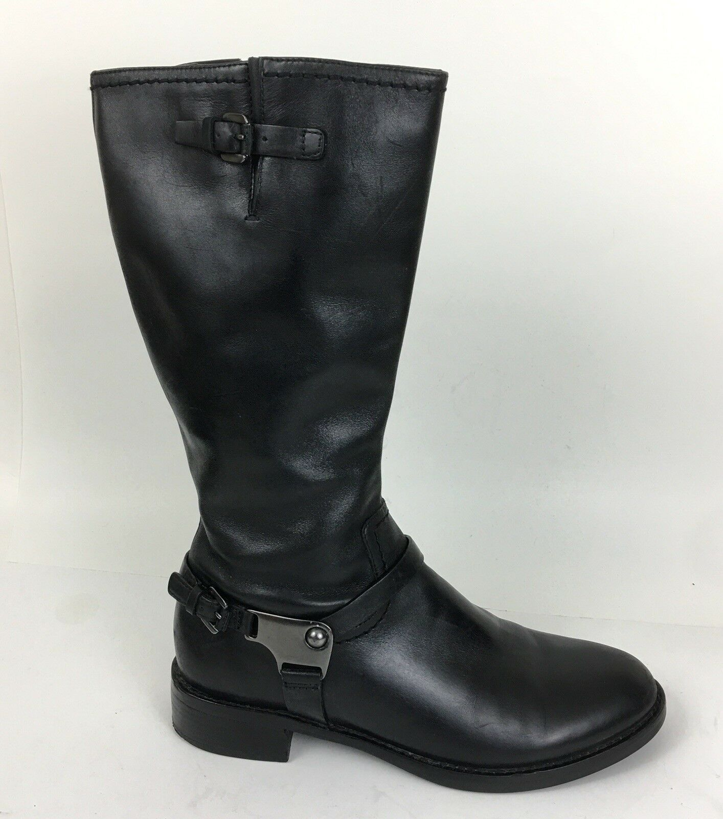 ECCO Women's Black Leather Mid Calf US 8  EUR 39 Boots w Strap & Buckles  F19