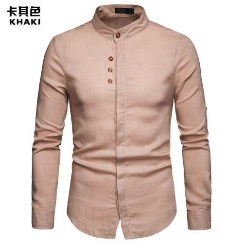 2019 printemps homme lin coton Stand Col Bouton long manches courtes Tops shirt