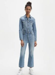 Levi-039-s-KickFlare-Jumpsuit-Player-Stretch-Denim-Jean-Crop-Flare-Coverall-S-NWT